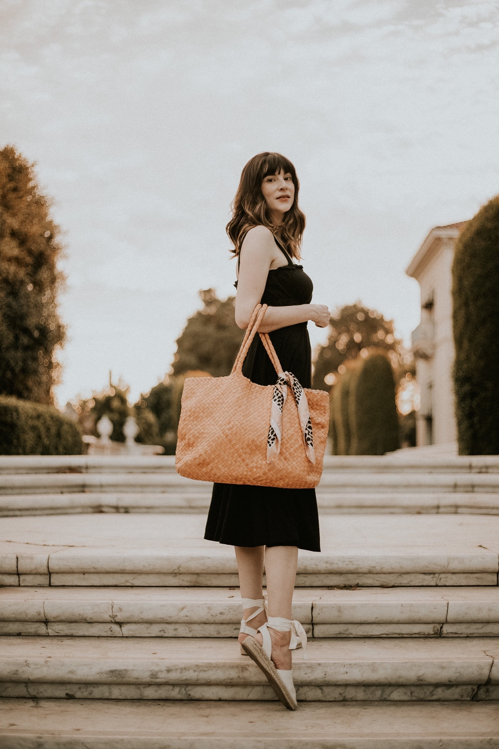 Milaner Classic Elena Woven Tote Bag with Reformation Dress