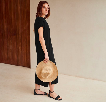 Eileen Fisher minimalist summer dress with straw hat