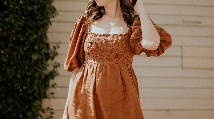 Sezane Linen Mini Dress with Puff Sleeves