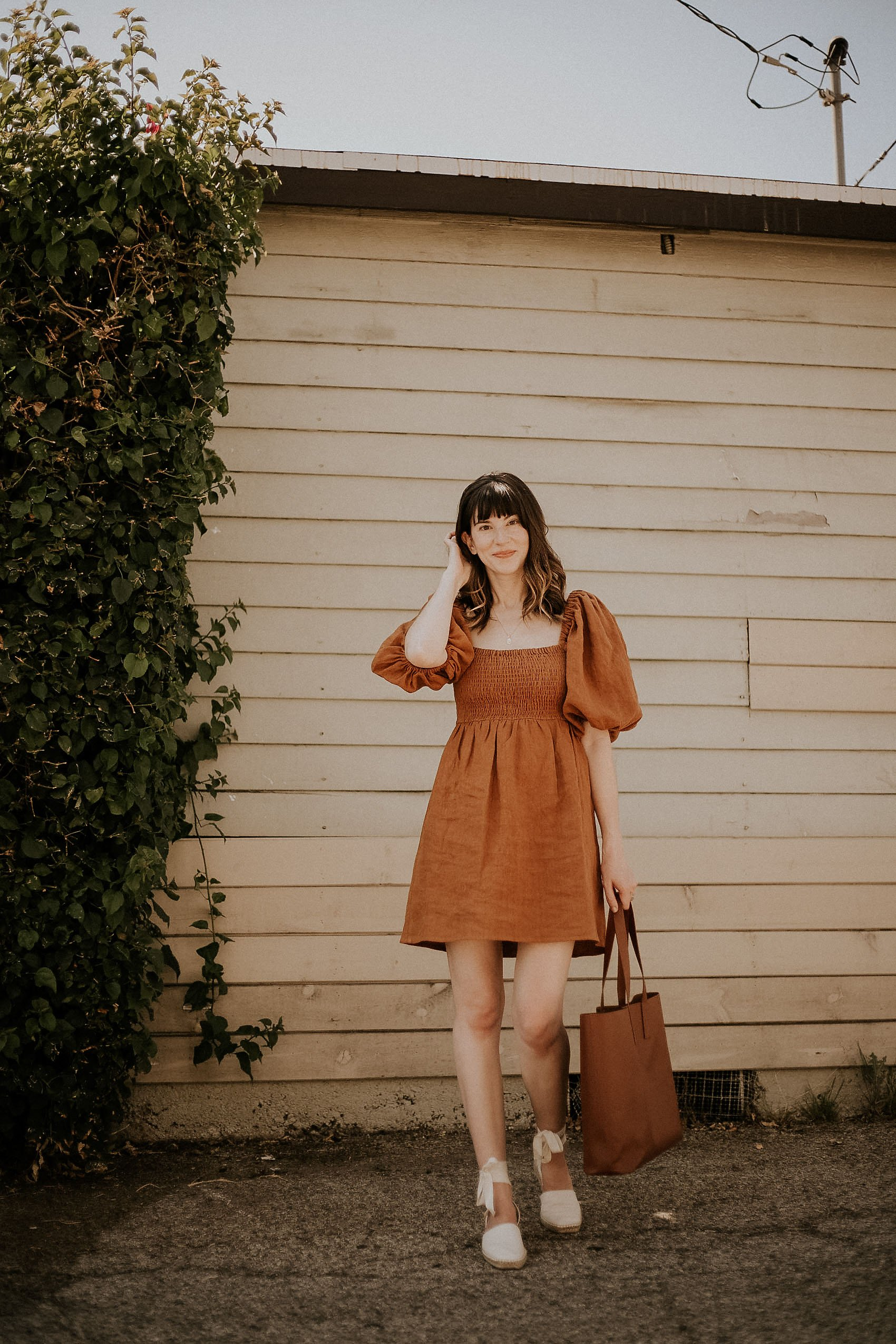 Sezane Smocked Dress with Everlane Tote Bag and Espadrilles
