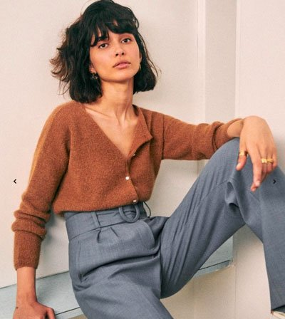 Sezane sustainable French Fashion Brand, Gaspard Knit Outfit