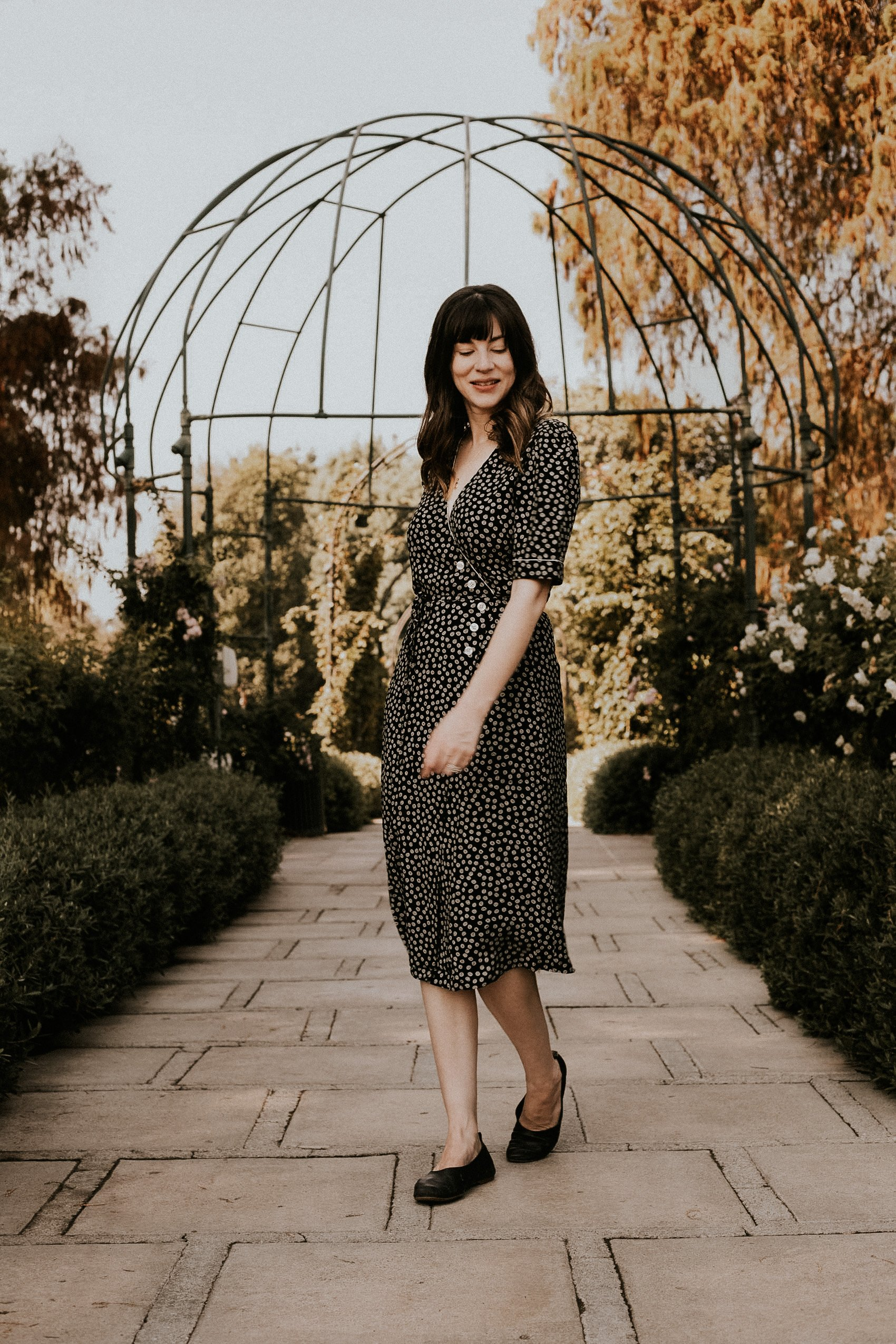 Los Angeles Blogger wearing french fashion brand Rouje at the Huntington Library