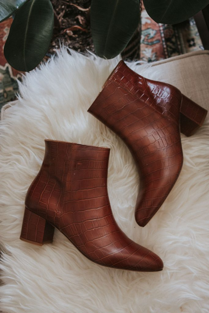 Where to find the best fall boots, Bobbies croc embossed booties for fall.