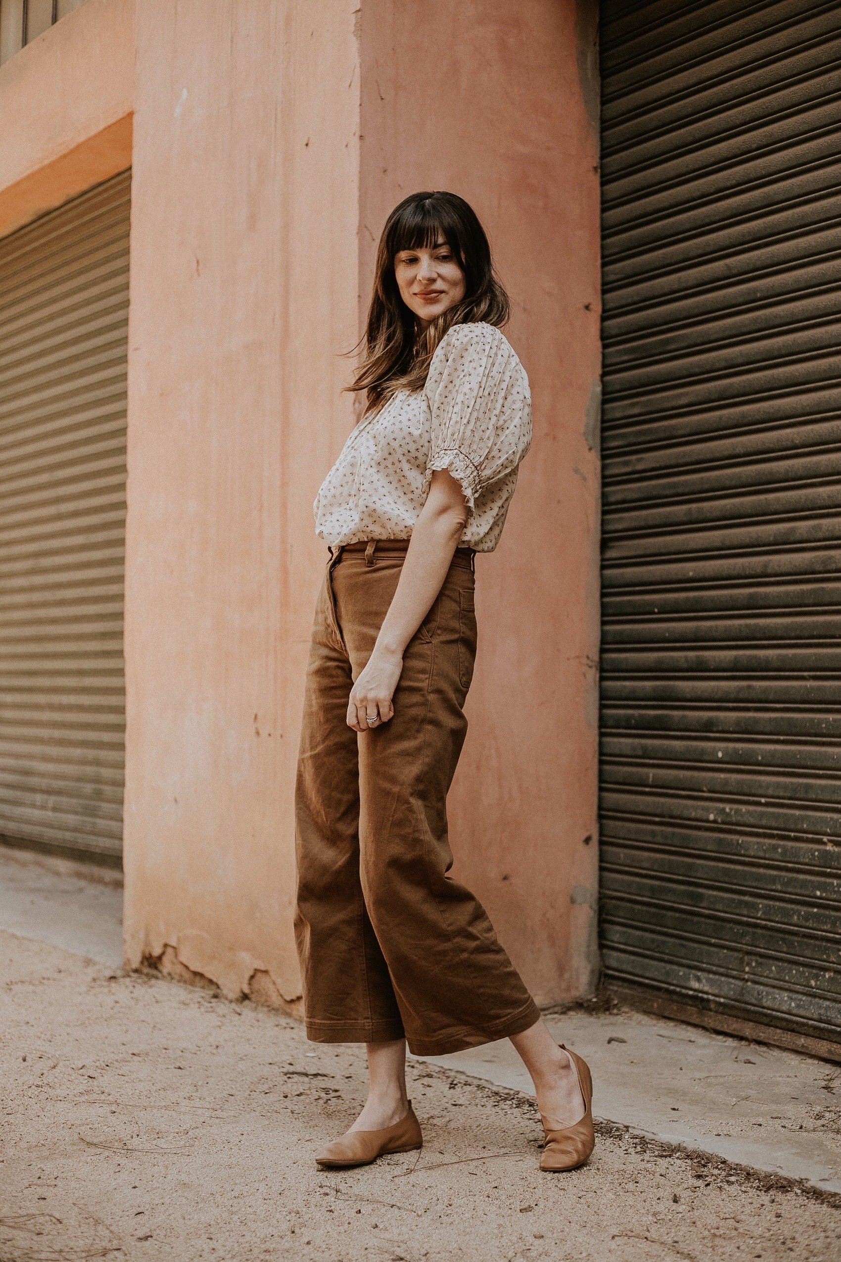 Doen floral top with Everlane Wide Leg Pants and Day Glove Shoes, Ethical Outfit of the Day
