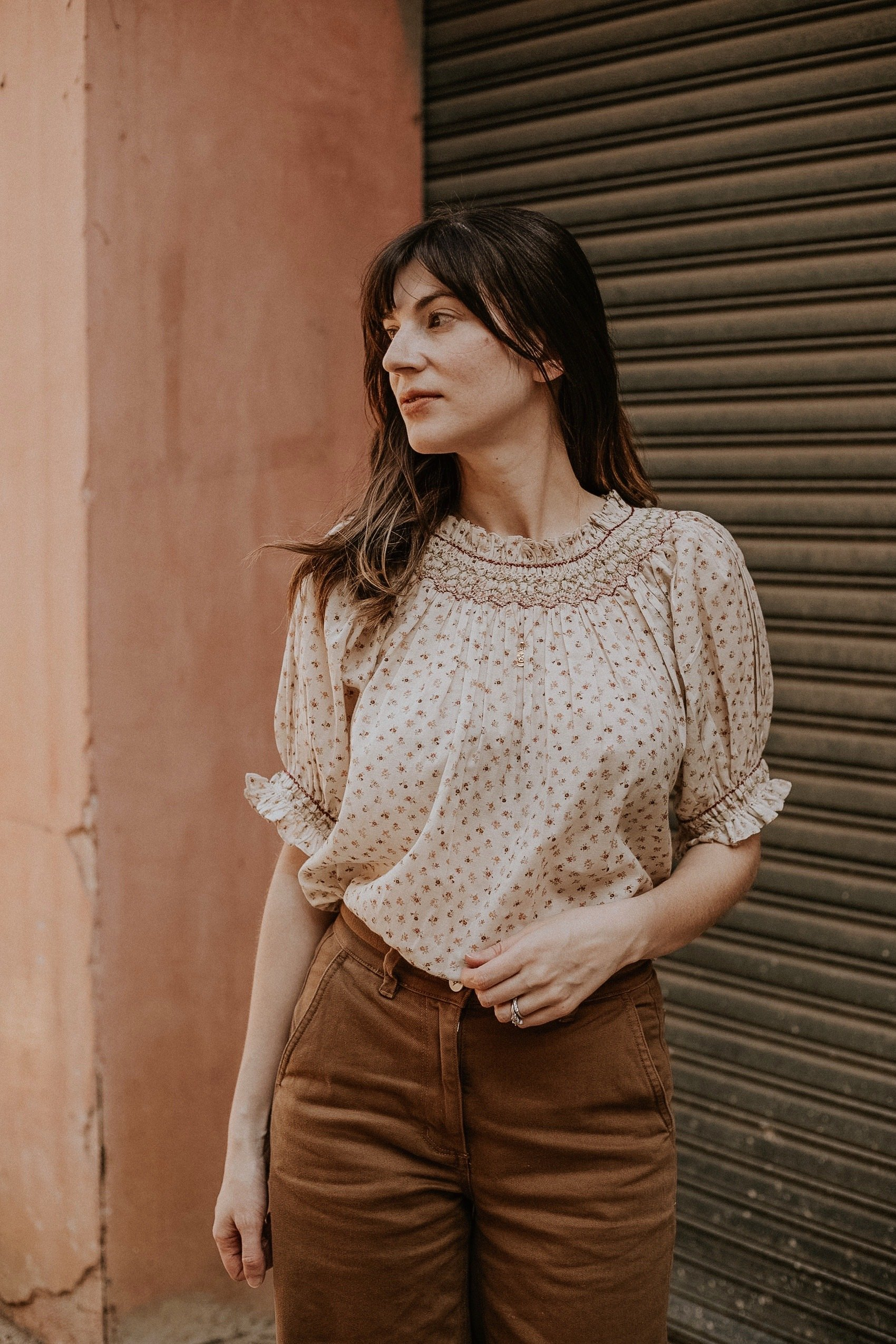 Doen Smocked Annalise Top with Everlane pants on Ethical Fashion Blogger