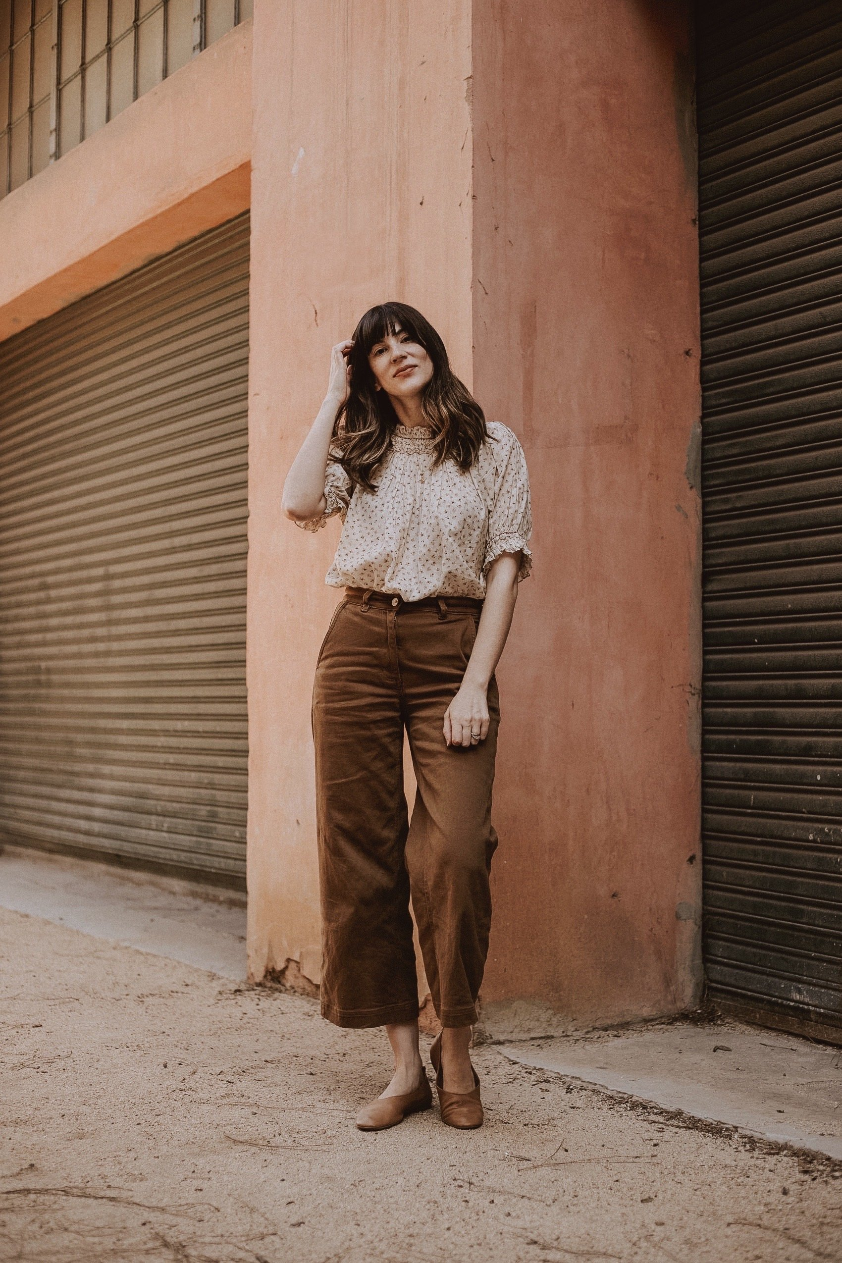 Ethical outfit from Doen and Everlane, wide leg crop pants, fall floral blouse