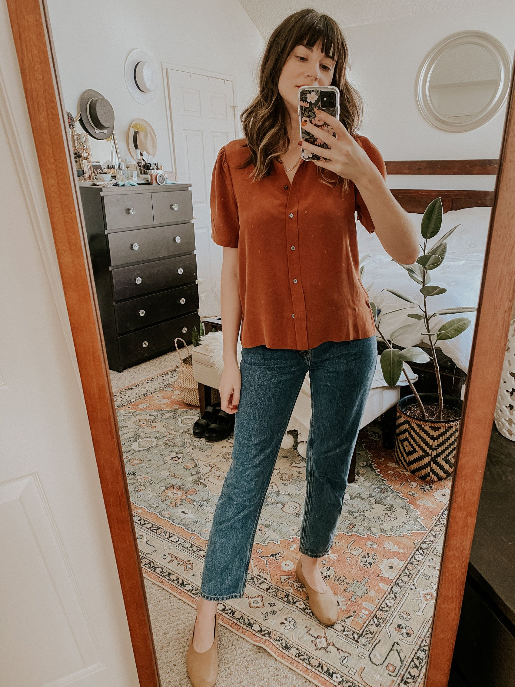 Everlane Silk Puff Sleeve Shirt with 90s Cheeky Straight Leg Jean