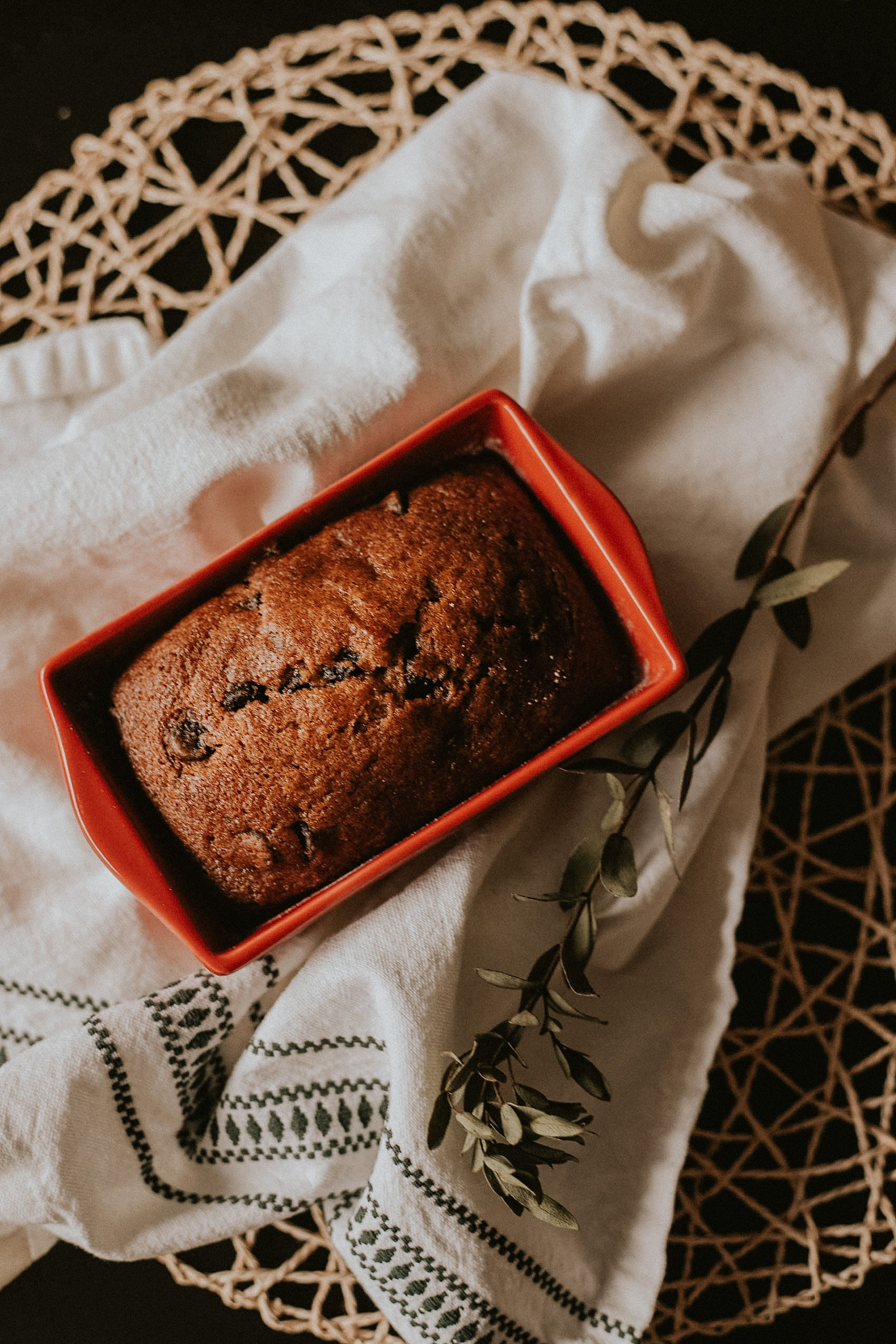 Mini Pumpkin Chocolate Chip Bread in holiday ceramic loaf pan, Homemade Holiday Gift.