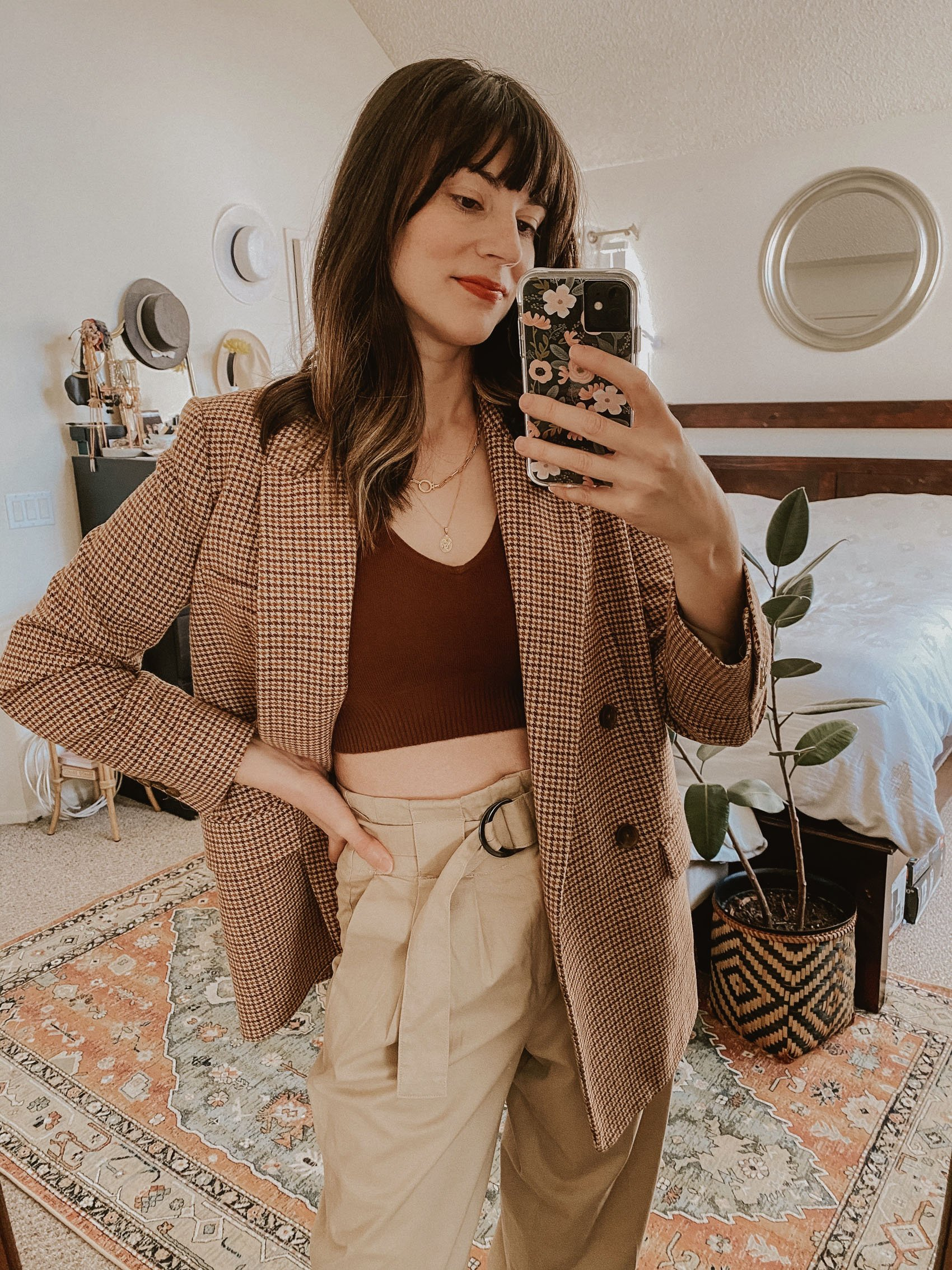 Oversized Blazer with Cropped Cashmere Tank and High Waist Trousers
