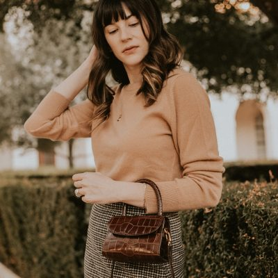 By Far Mini Bag with Naadam Cashmere Sweater and Plaid Mini Skirt
