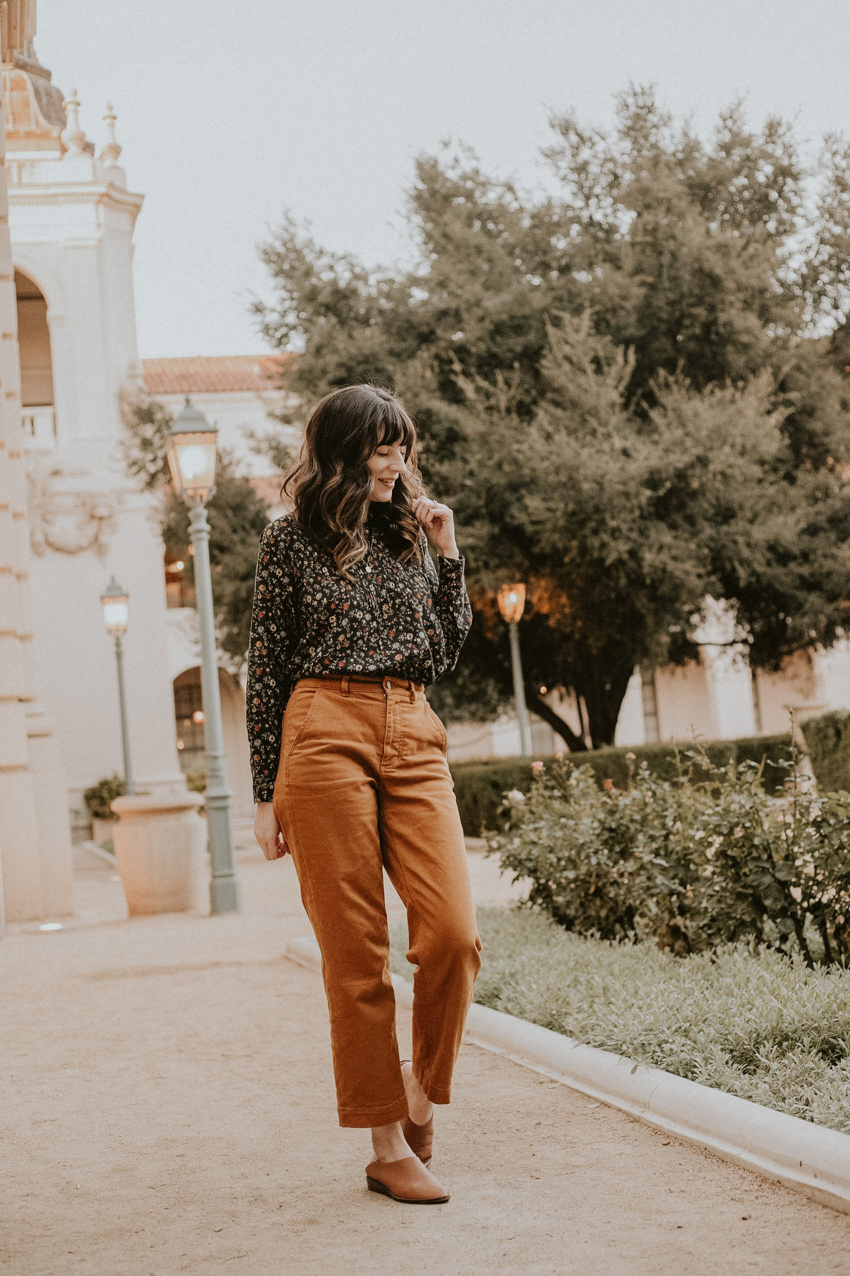 Doen Floral Top with Everlane Pants at Pasadena City Hall