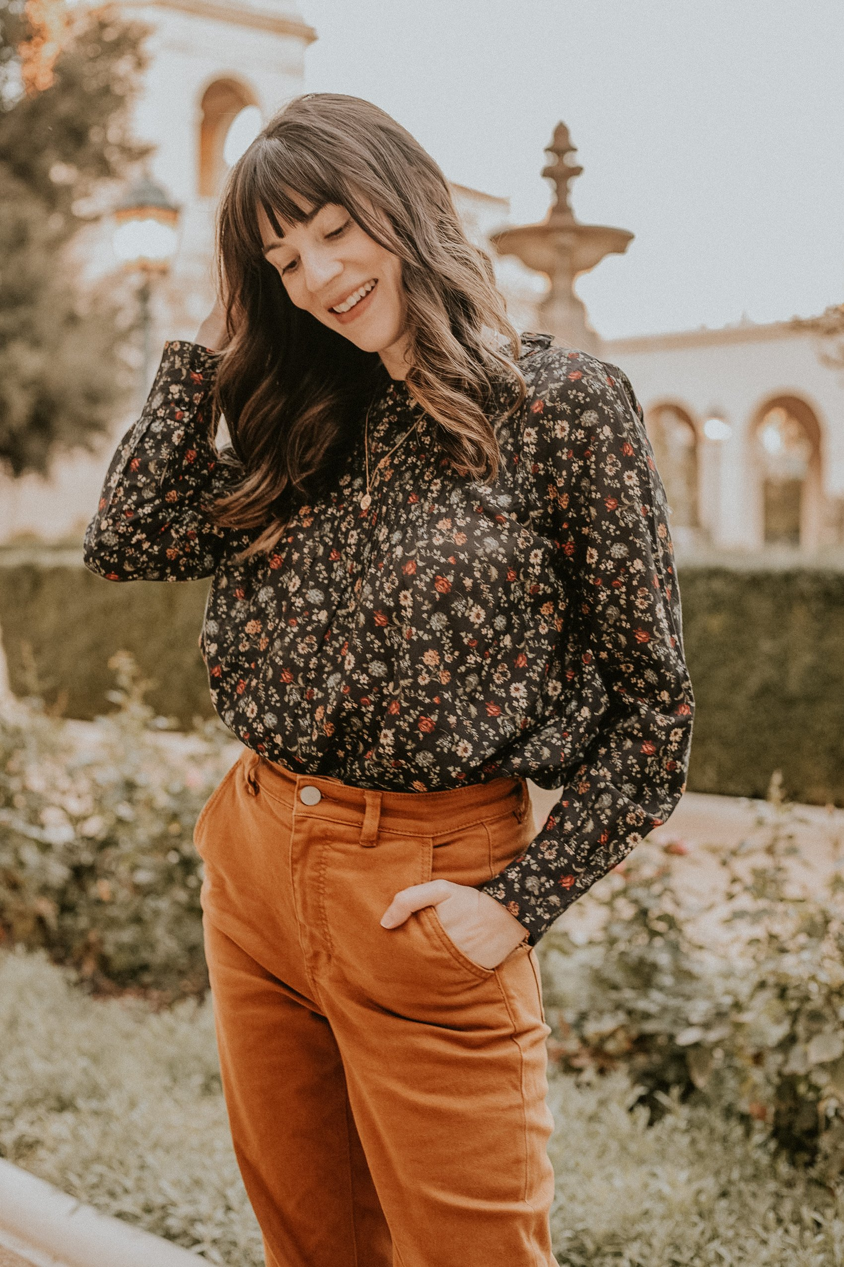 Doen long sleeve blouse in a fall floral print, ethically made blouse
