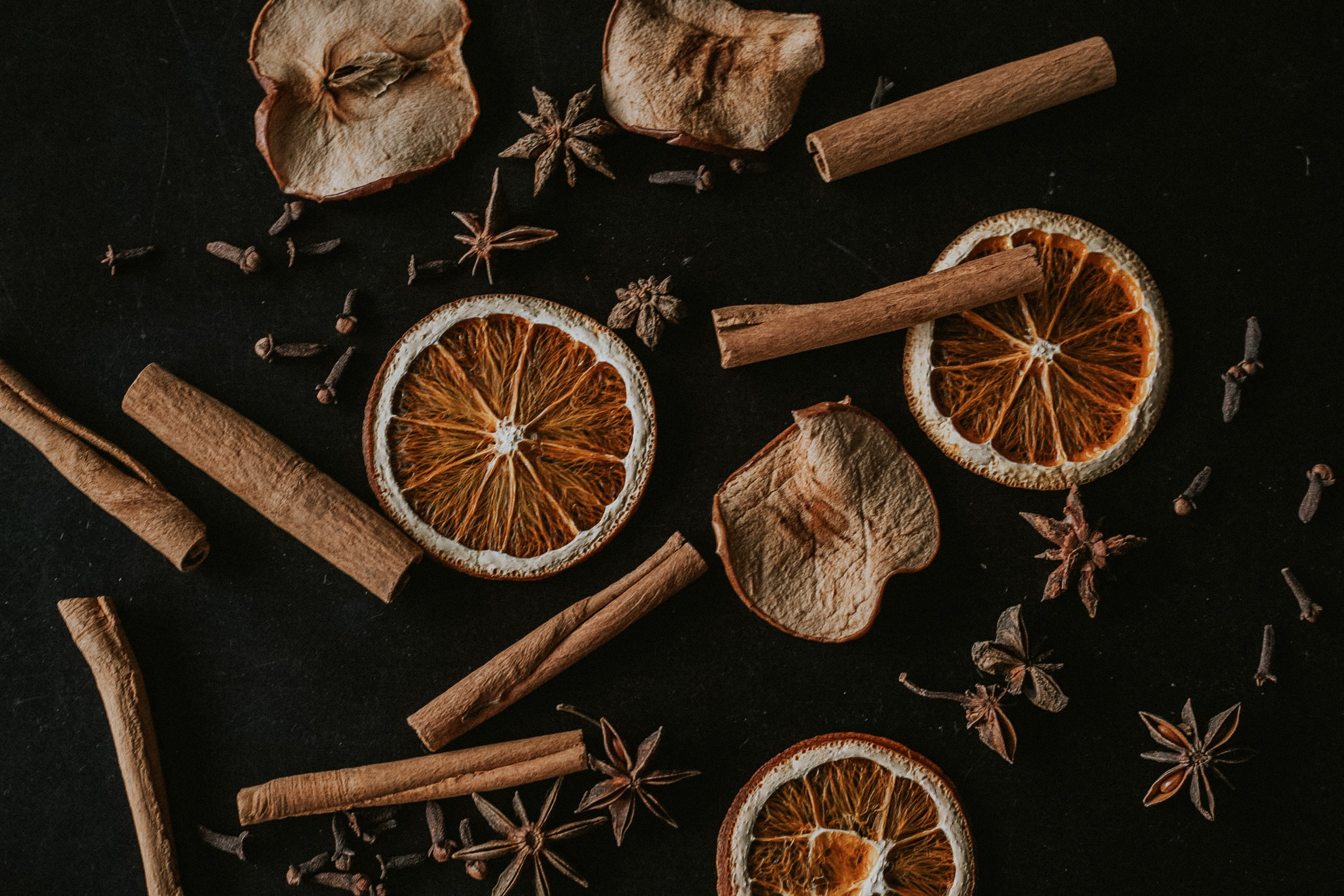 Dried spices and fruit for stovetop potpourri