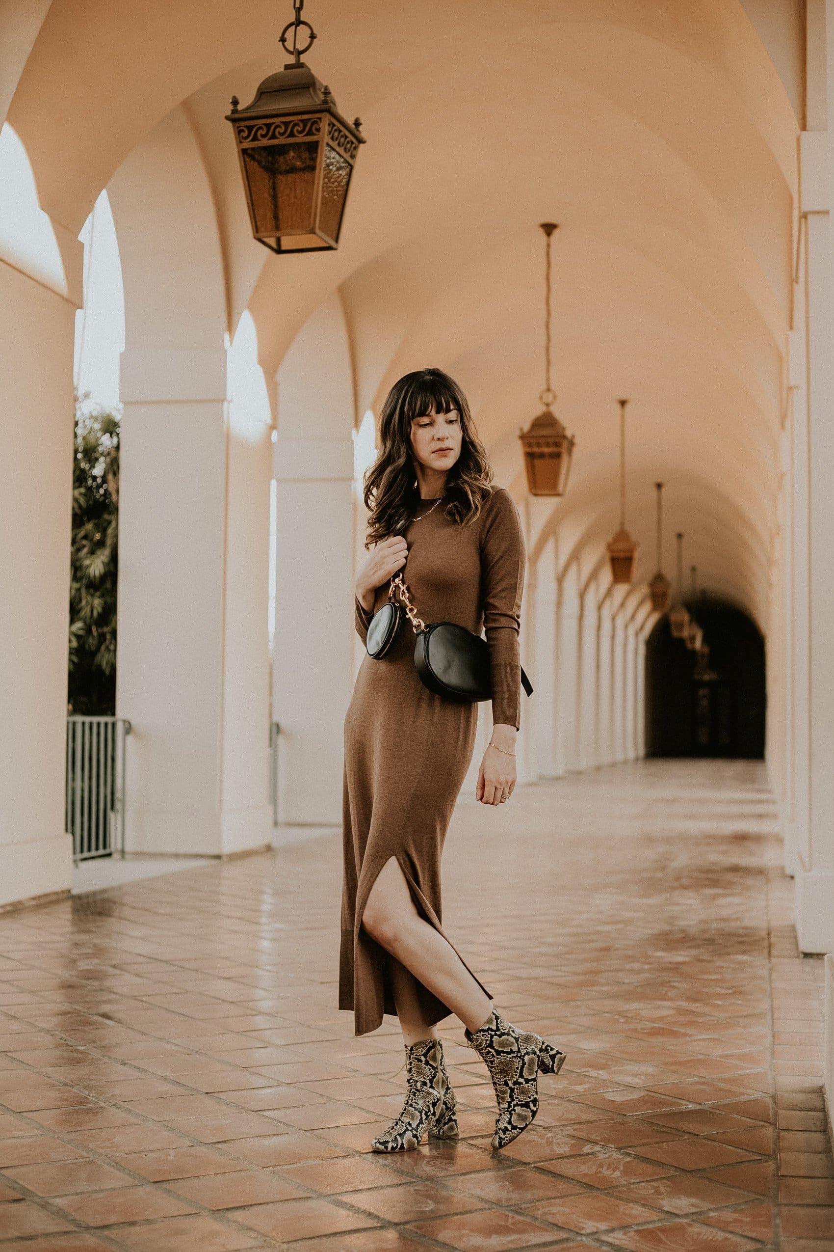 Naadam Dress Review, Lightweight Cashmere Dress with Long Sleeves and Reike Nen Bag