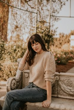 Naadam Structured Shoulder Sweater on Los Angeles Fashion Blogger Jeans and a Teacup