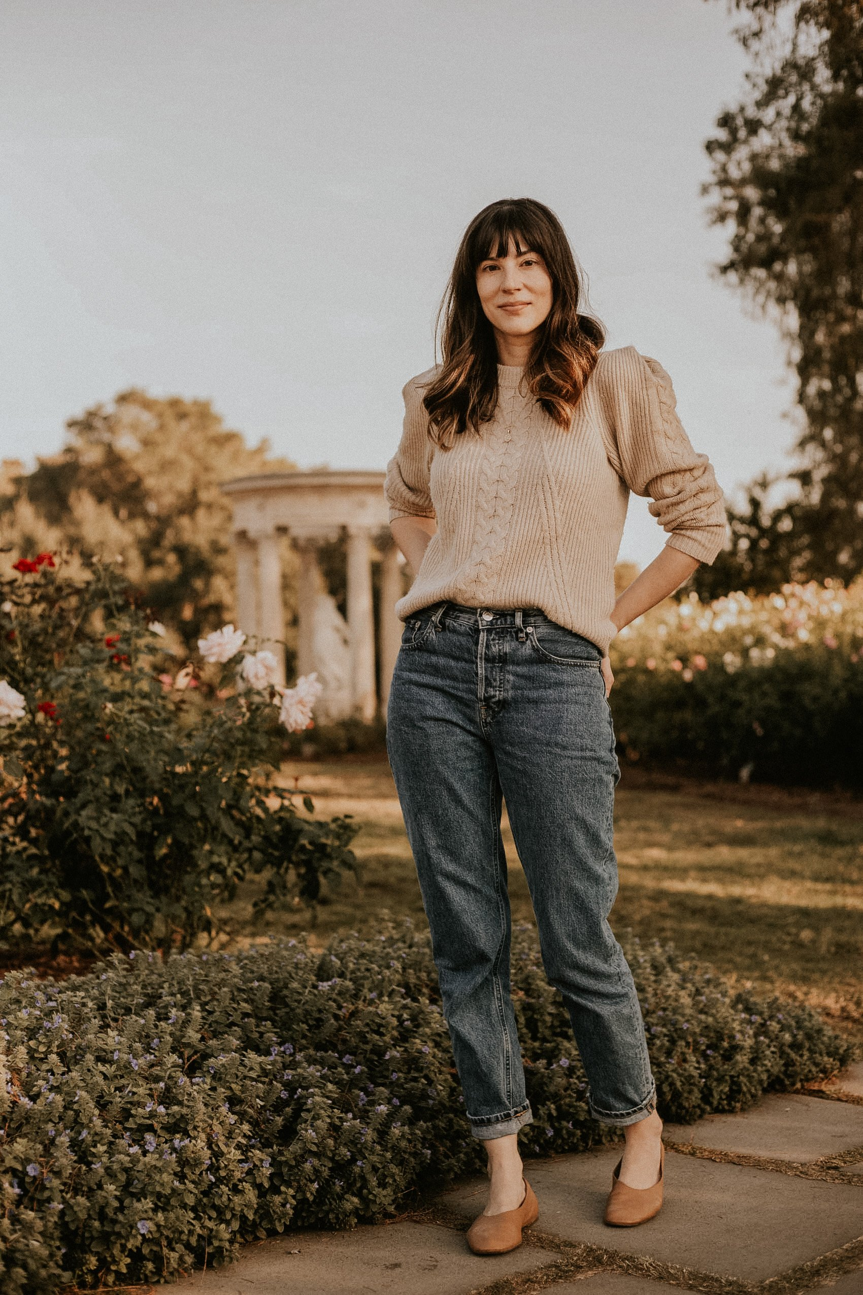 Naadam Cable Knit Sweater with Everlane 90s Cheeky Jeans