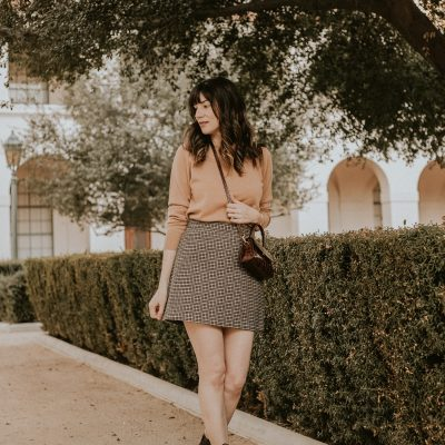 Neutral Fall Outfit with Cashmere Sweater, Plaid Mini Skirt, Croc Embossed Booties, By Far Mini Bag