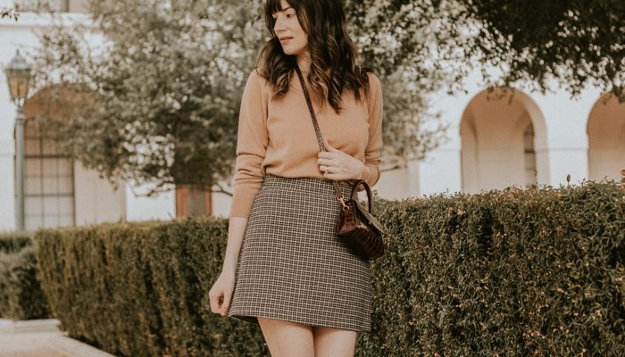 Schoolgirl Chic: A Houndstooth Mini Skirt and Cashmere Sweater