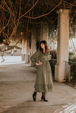 Christy Dawn Dress with By Far Lace Up Booties