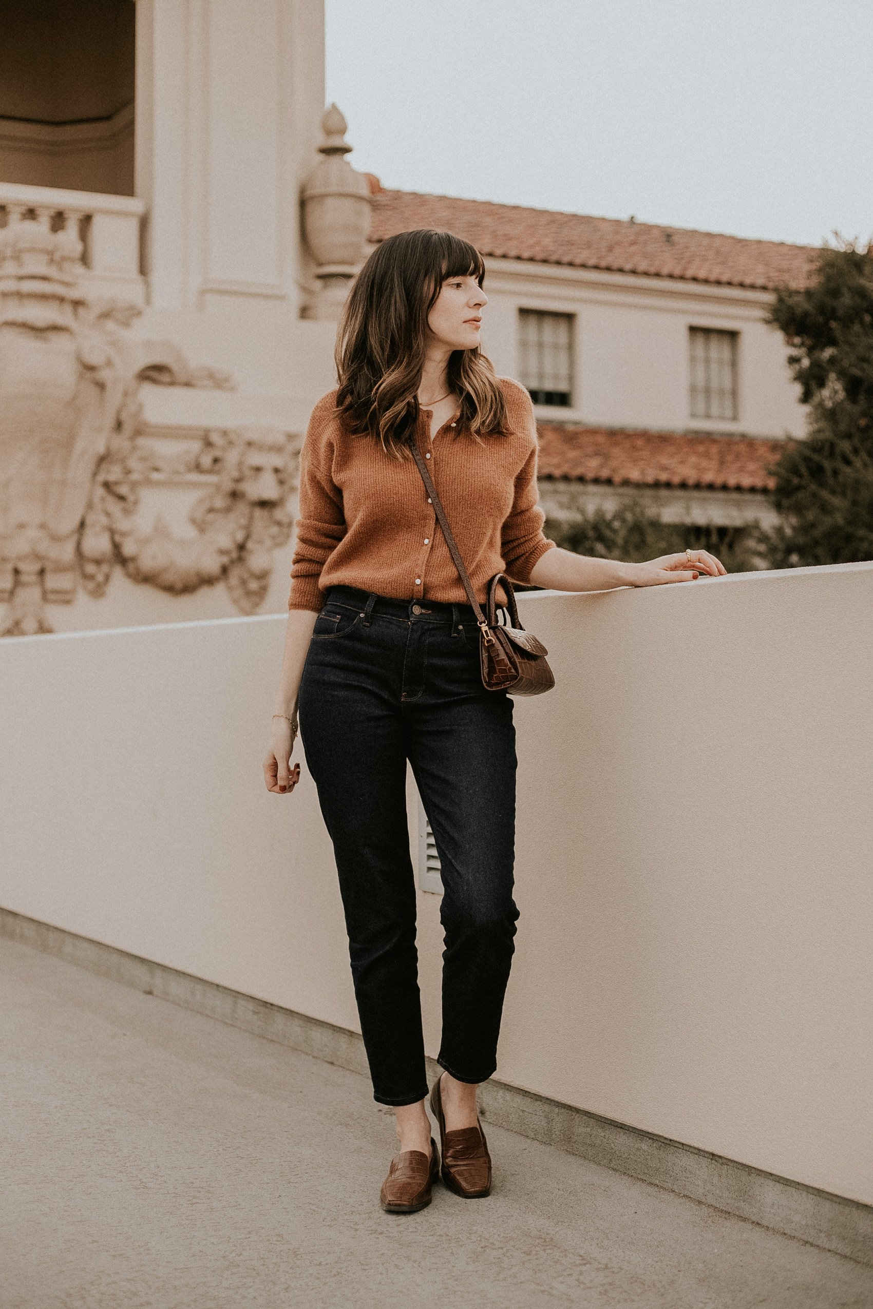 Mott + Bow Mom Oliver Jeans with Sezane Gaspard Jumper and By Far Mini Bag