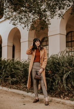 Long Camel Coat with Fall Colors Outfit