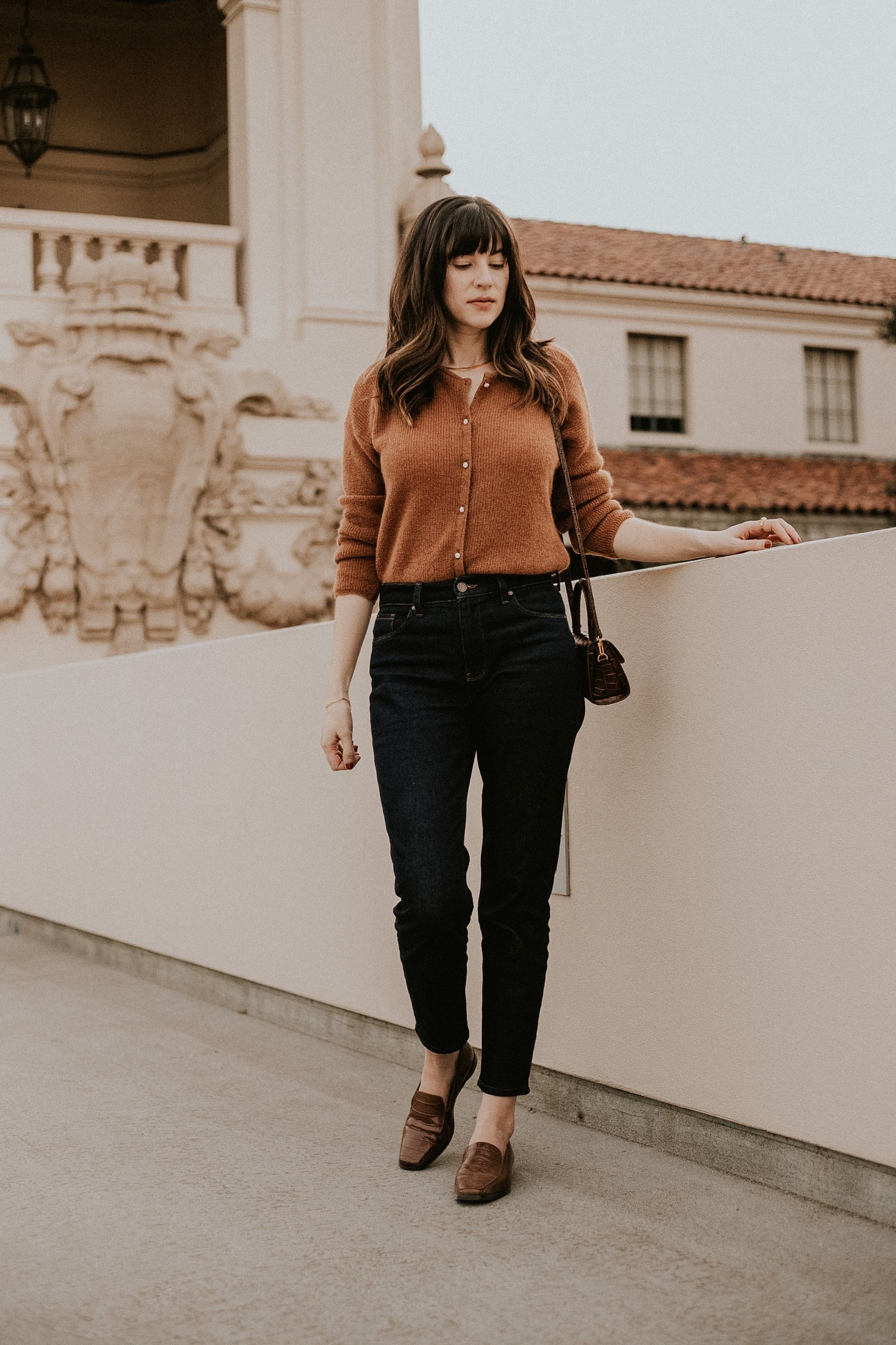 Sezane Gaspard Knit with Mott + Bow jeans and Everlane Loafers