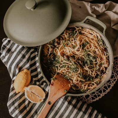 Our Place Always Pan Review Lemon Olive Pasta Dish