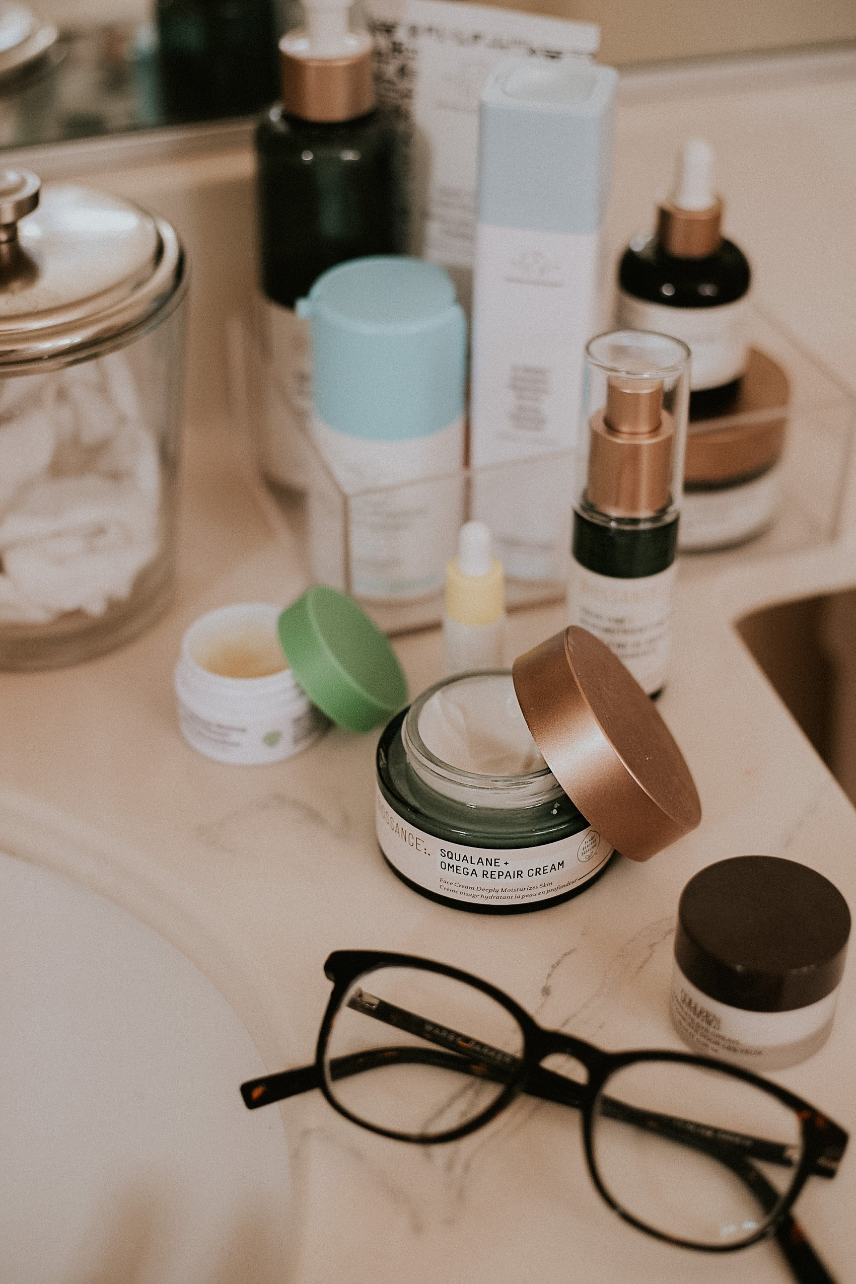 Clean Skincare products for winter skin, Winter Skincare Routine, Bathroom Skincare Picture