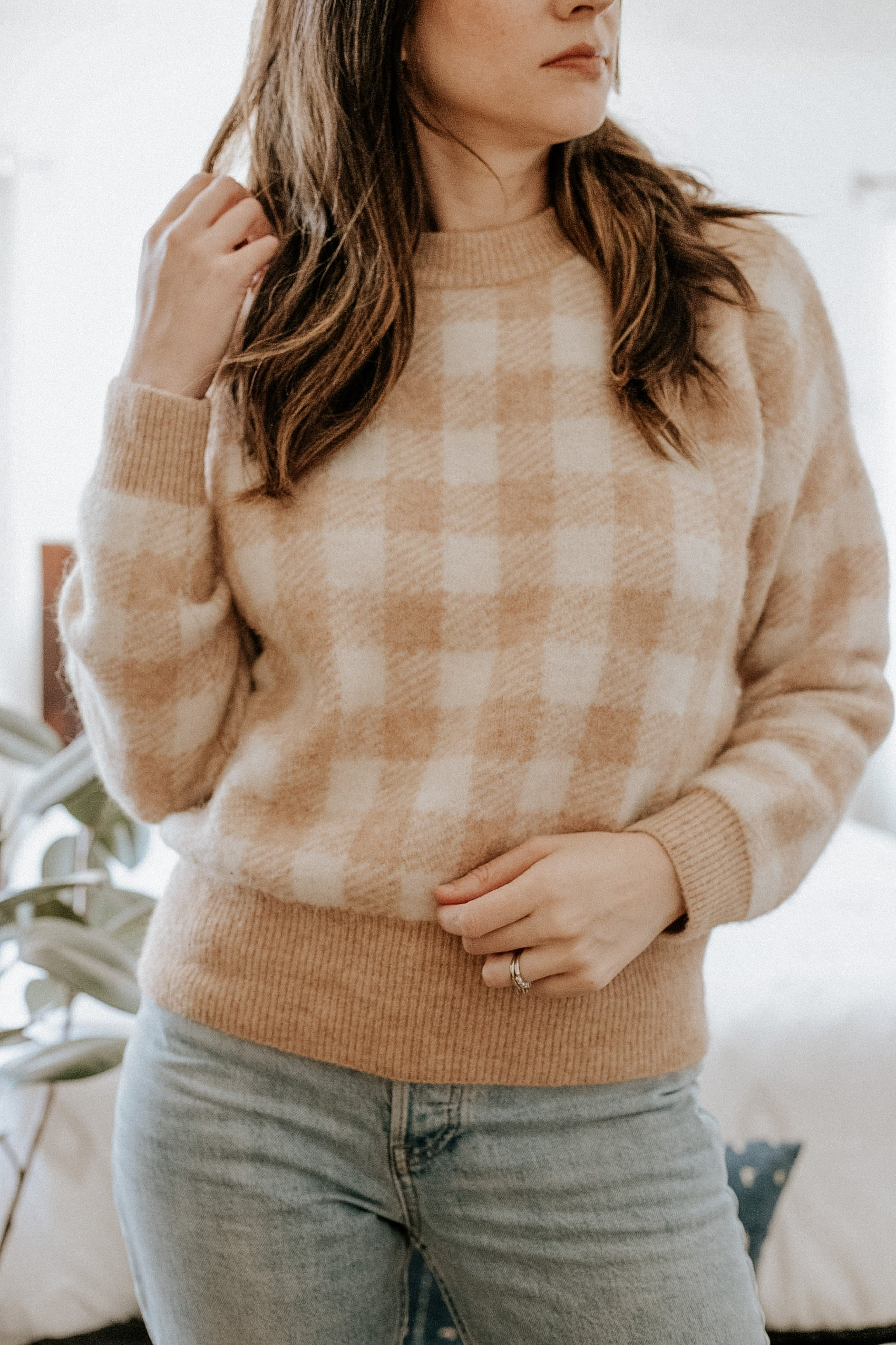 Close up of the tan check print Becky Sweater from Sezane
