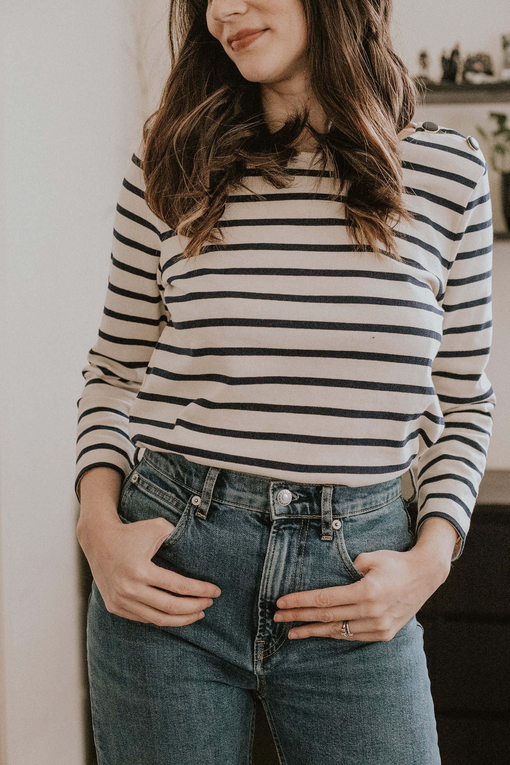 Sezane Colette Striped Tee with Buttons