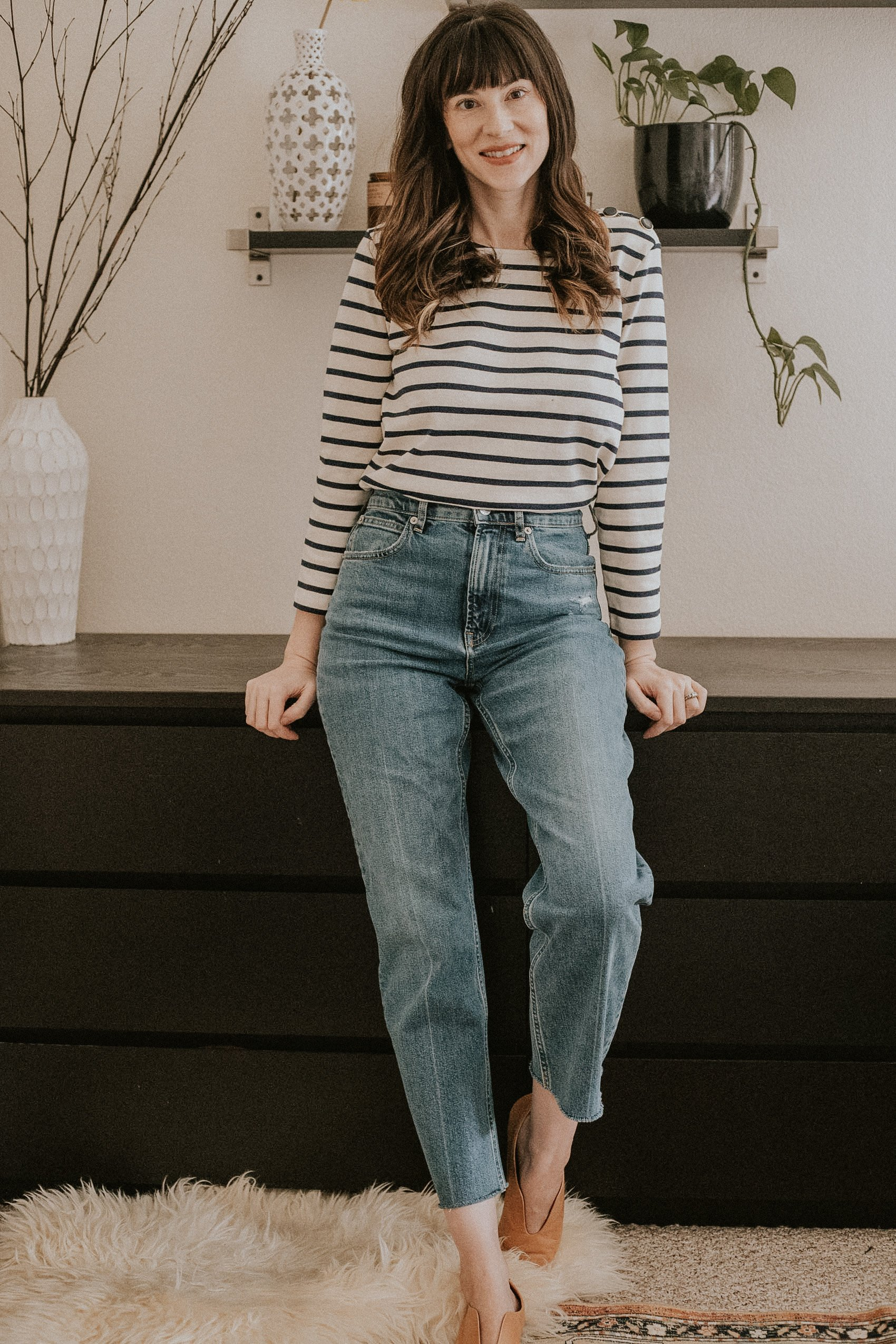 Sezane Colette Striped Top with High Waist Everlane Jeans