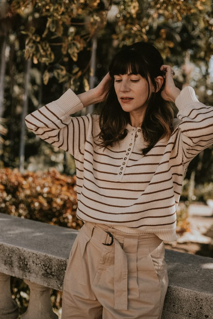 Sezane Striped Jumper with Pleated Pants on Los Angeles Fashion Blogger