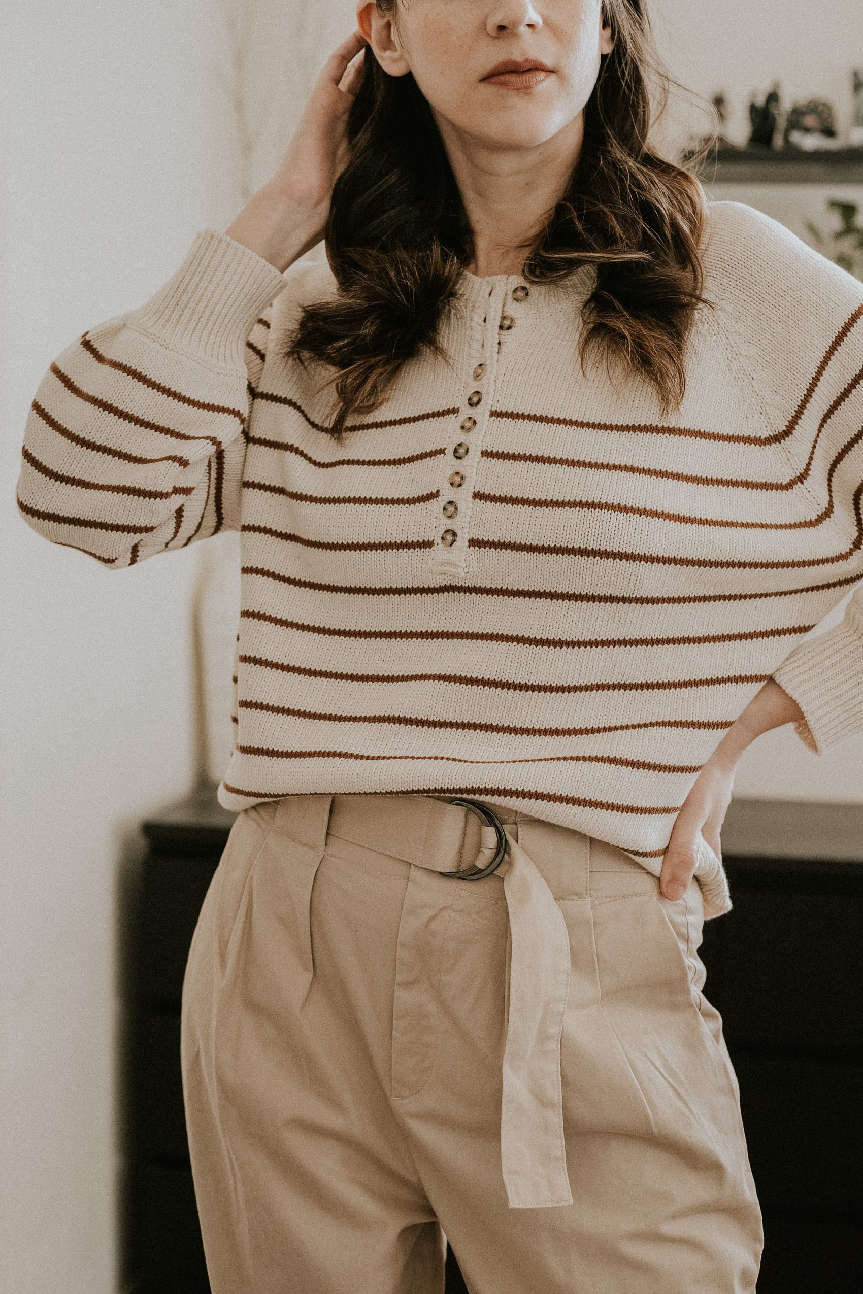Sezane Leontine Striped Sweater with Paperbag waist trousers