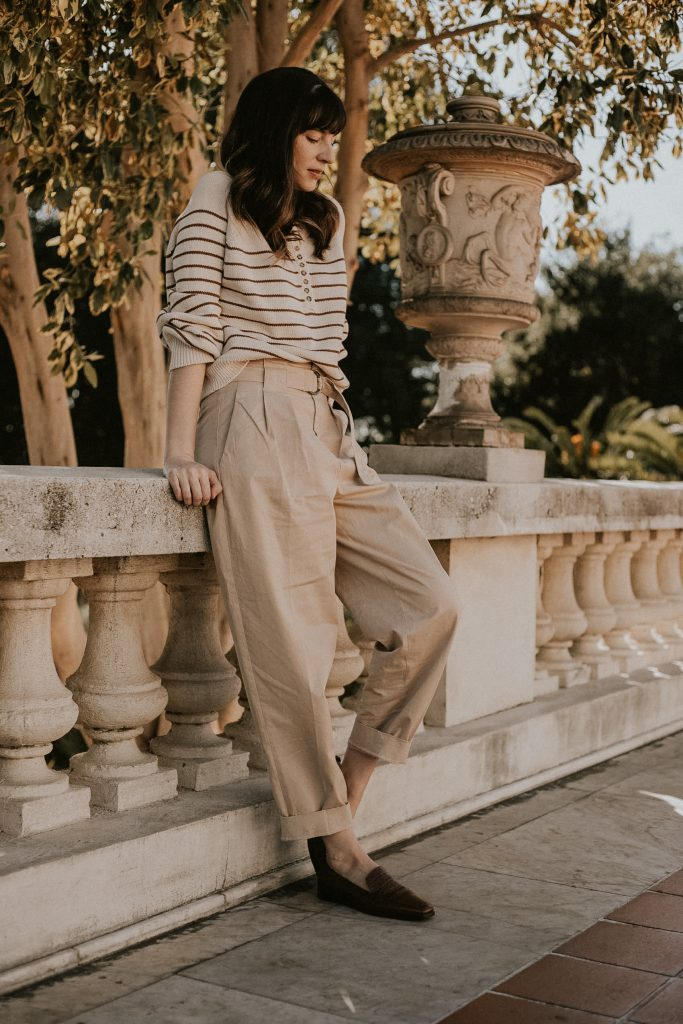 Sezane Leontine Jumper with Pleated Trousers and Loafers