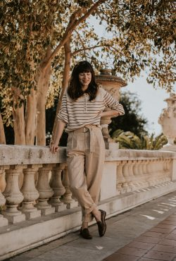 Menswear Inspired Outfit, Sezane Striped Sweater, Pleated Trousers, Everlane Loafers