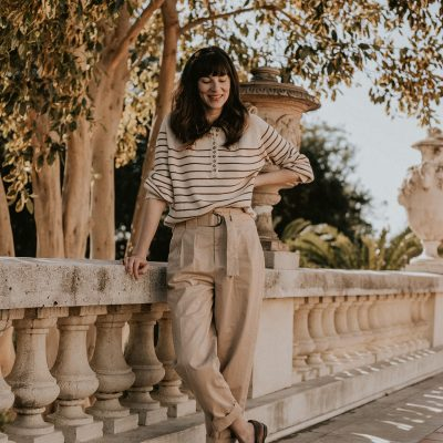 A Menswear Inspired Outfit ft. Striped Sweater + Pleated Trousers