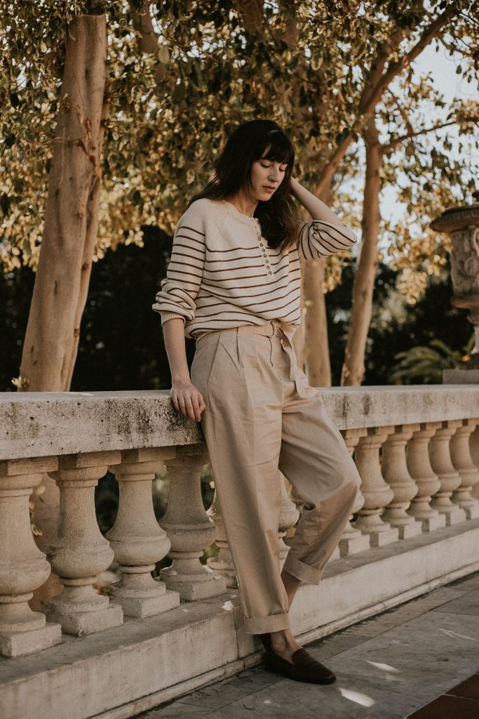 Menswear Inspired Outfit ft Striped Sweater, Pleated Trousers, Loafers