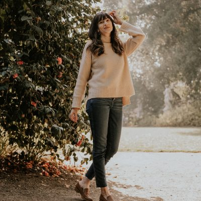 Everlane Renew Cashmere Sweater and New Modern Loafers on Fashion Blogger at Huntington Gardens