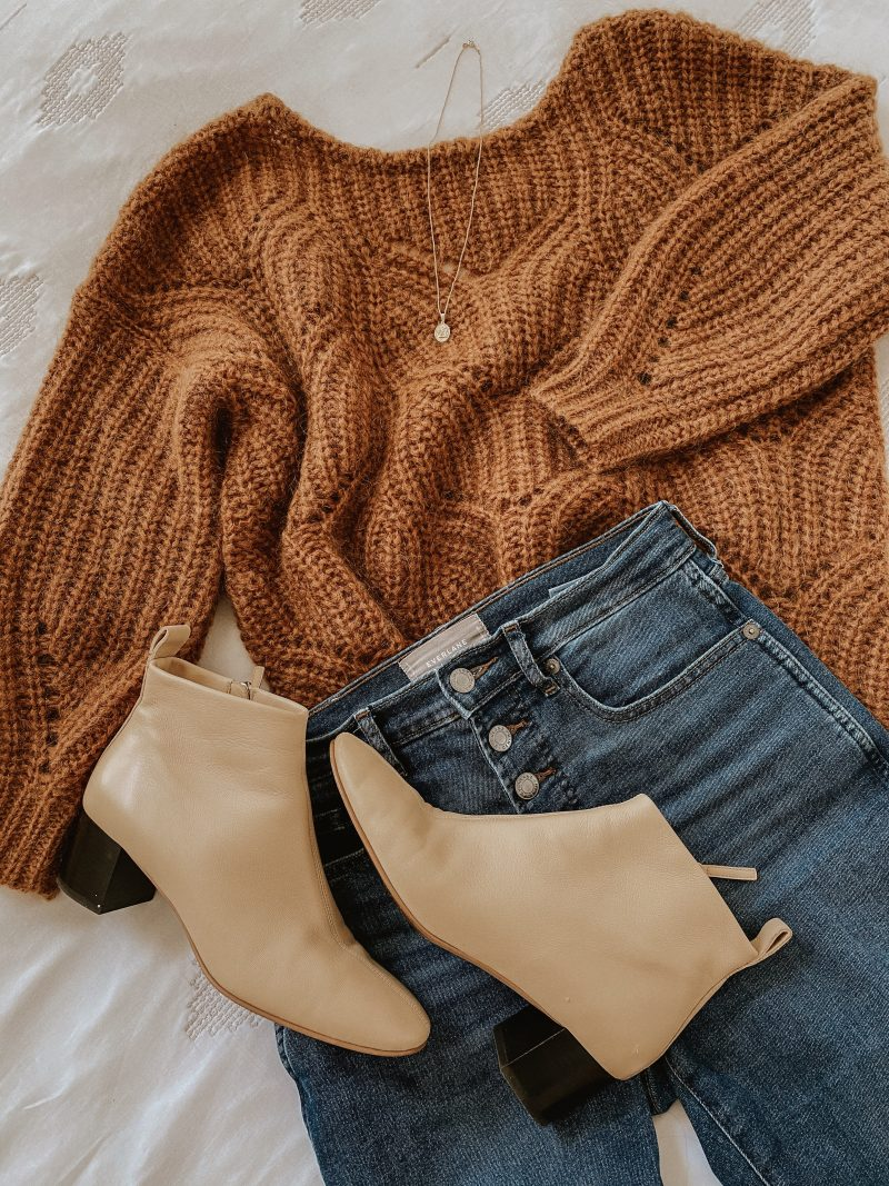Sezane Knit Flatlay with Everlane Jeans and Day Boots