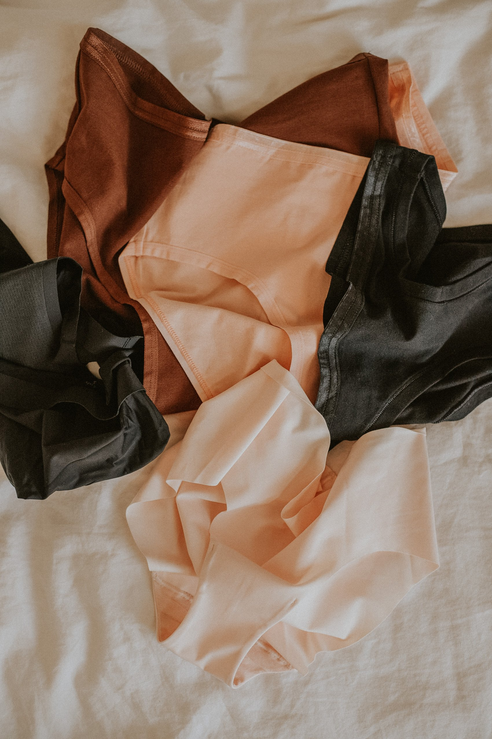 Ethical and Sustainable Underwear Review, Underwear flatlay on bed