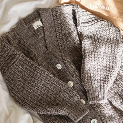 babaa cardigan no. 19 in dark mist, ethical and sustainable knitwear
