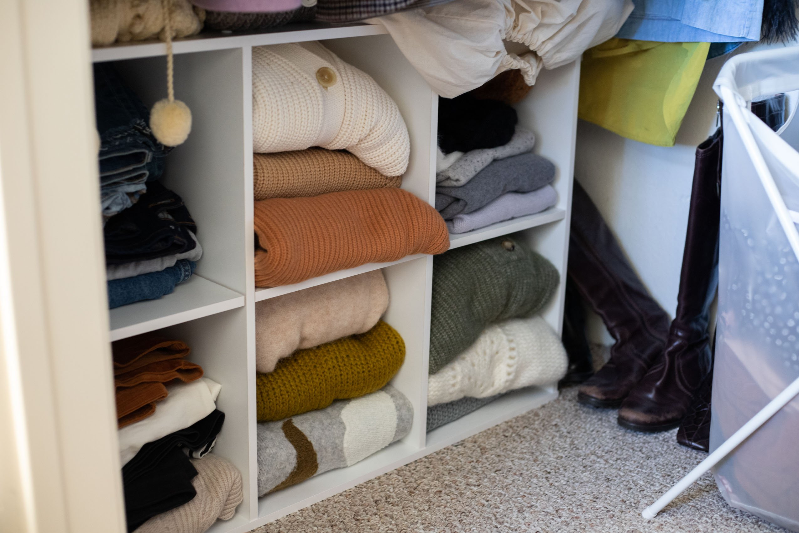 """Closet Clean Out Photos """"After"""", Shelving for sweaters and jeans"""