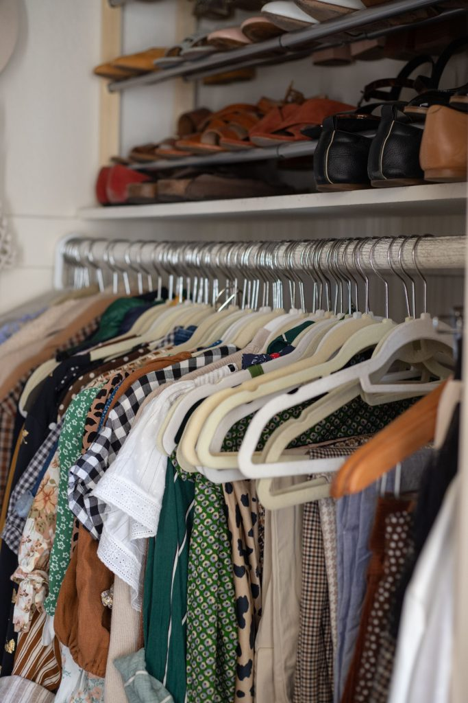 After photos from closet clean out, slim hangers, shoe organizer