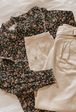 Sezane Agathe Floral Blouse with Francky Trousers flatlay