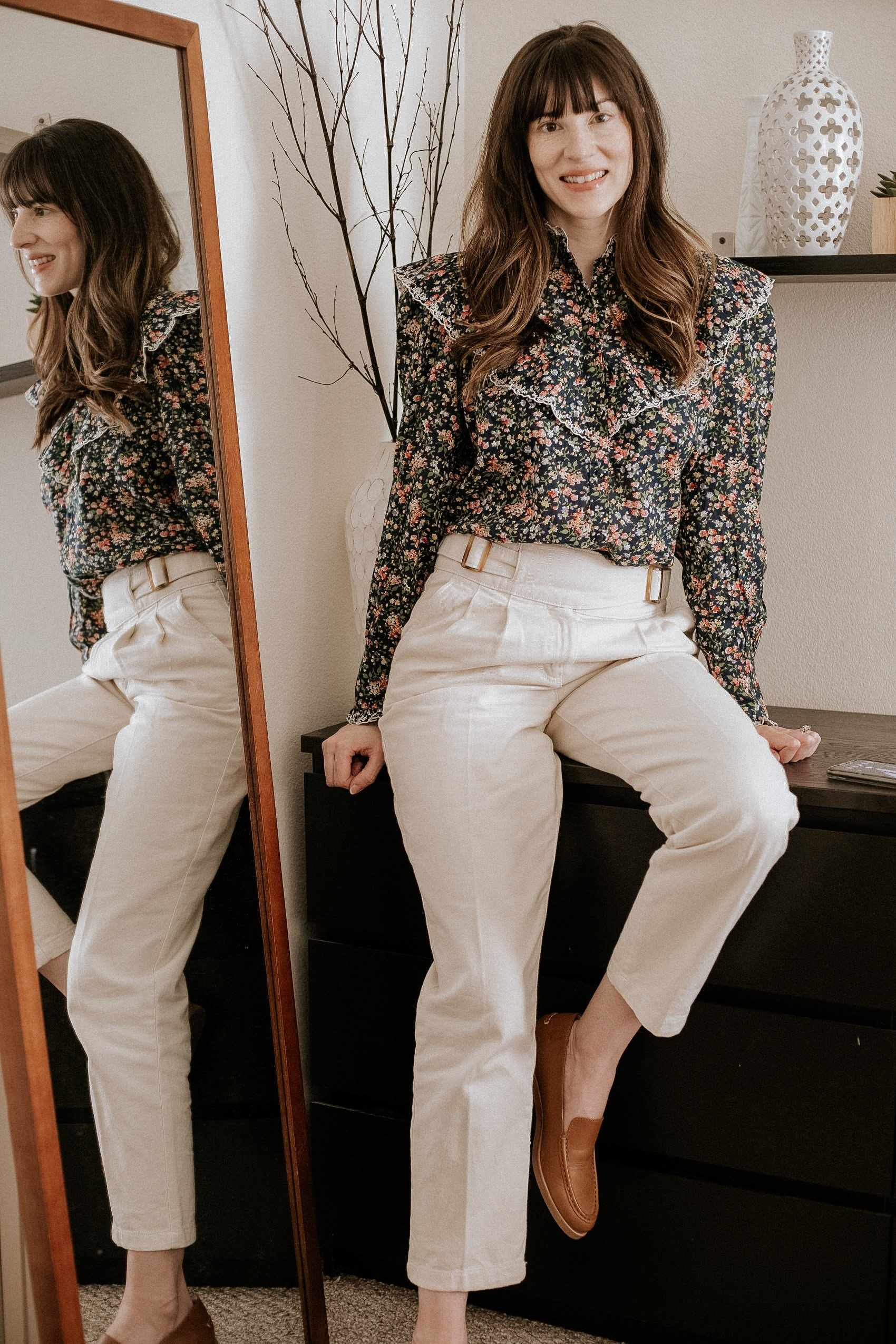 Sezane Agathe Blouse with Francky Trousers on Los Angeles Fashion Blogger