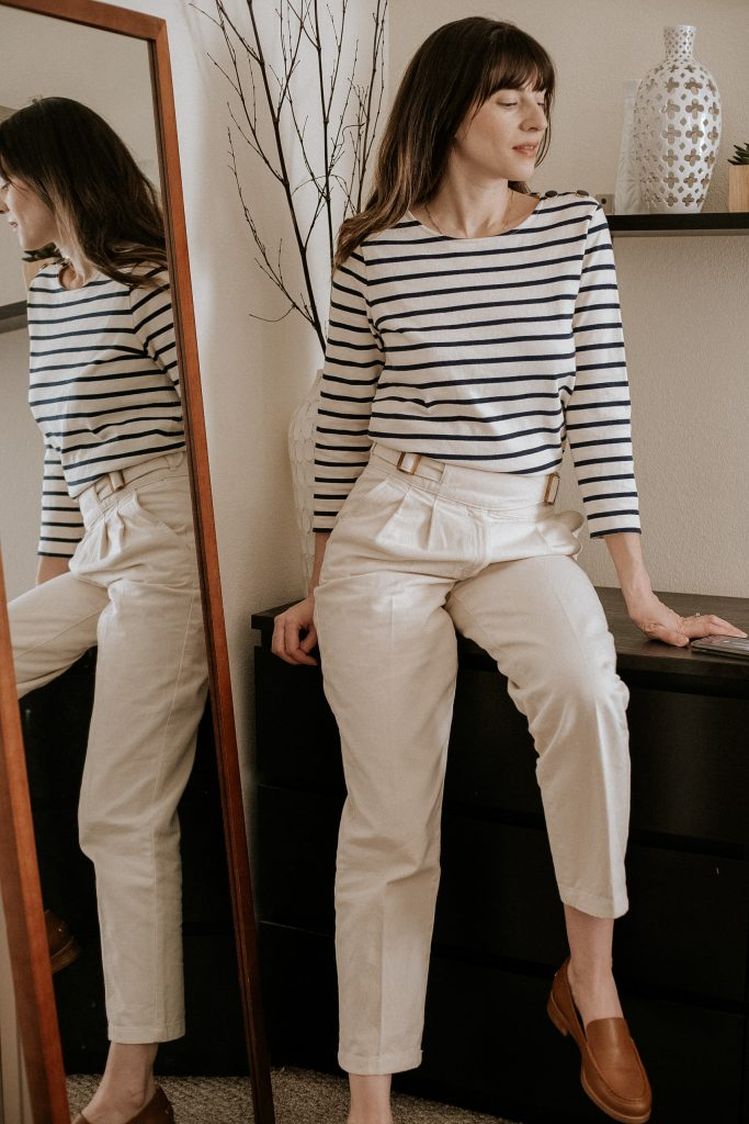 Sezane Colette Mariniere striped top with Francky Trouser