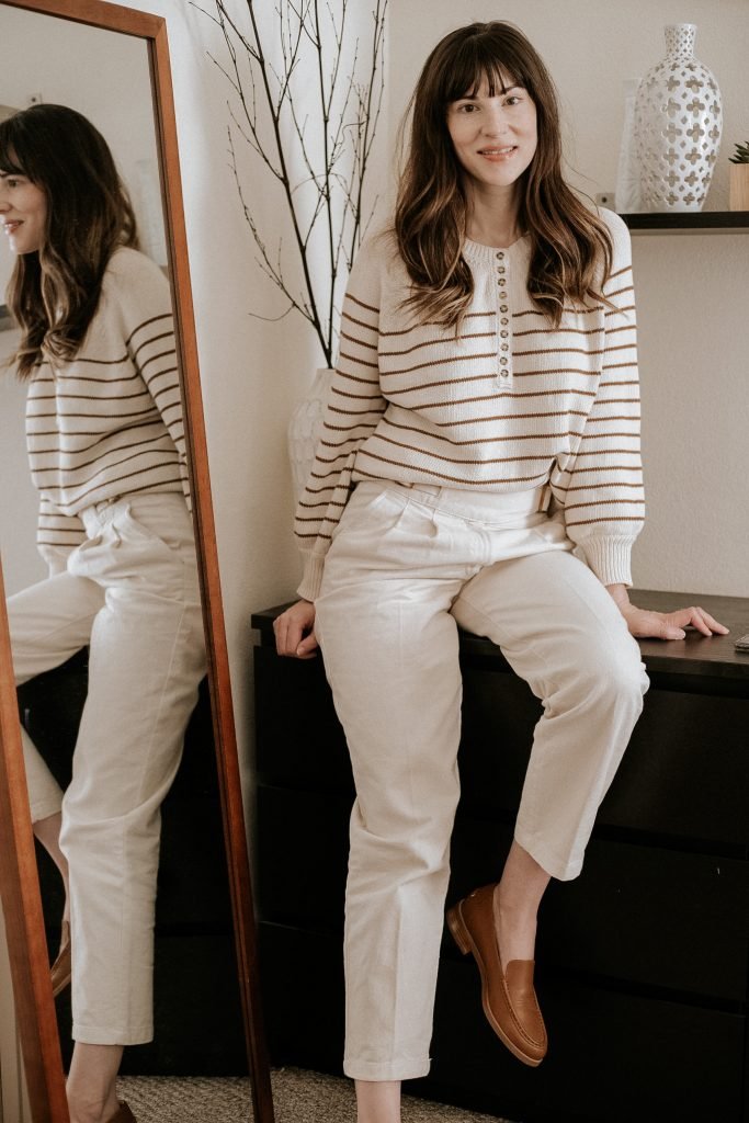 Sezane Leontine Sweater with Francky Trousers on Los Angeles Fashion Blogger