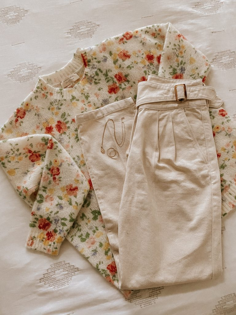 Sezane floral Paulie Sweater with Francky Trousers flatlay