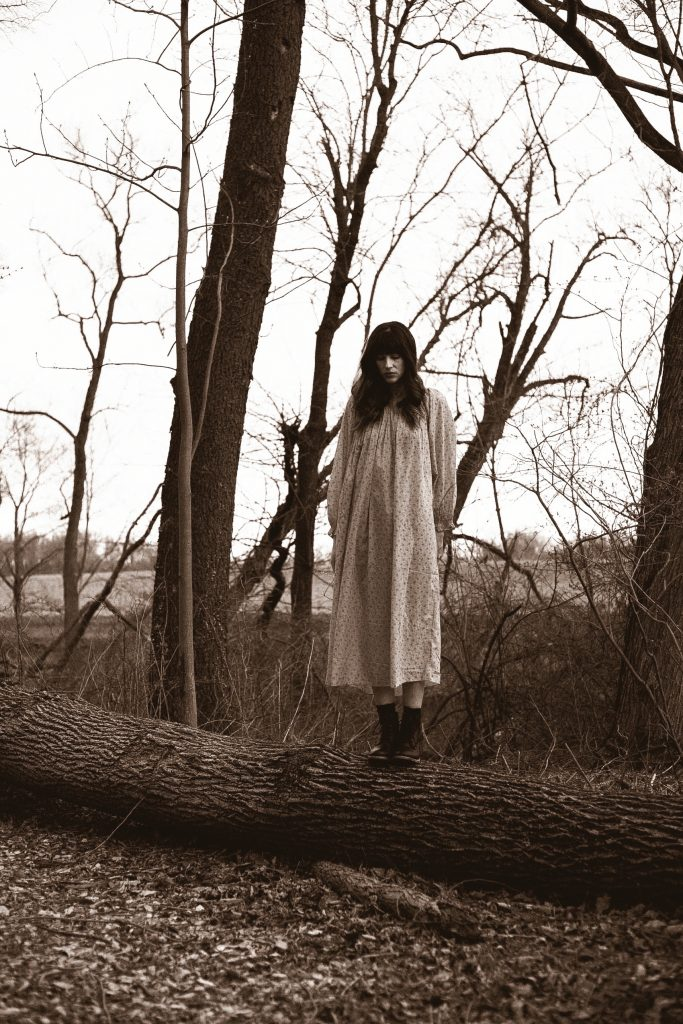 Lancaster Pennsylvania Blogger wearing Doen nightgown in the woods with boots
