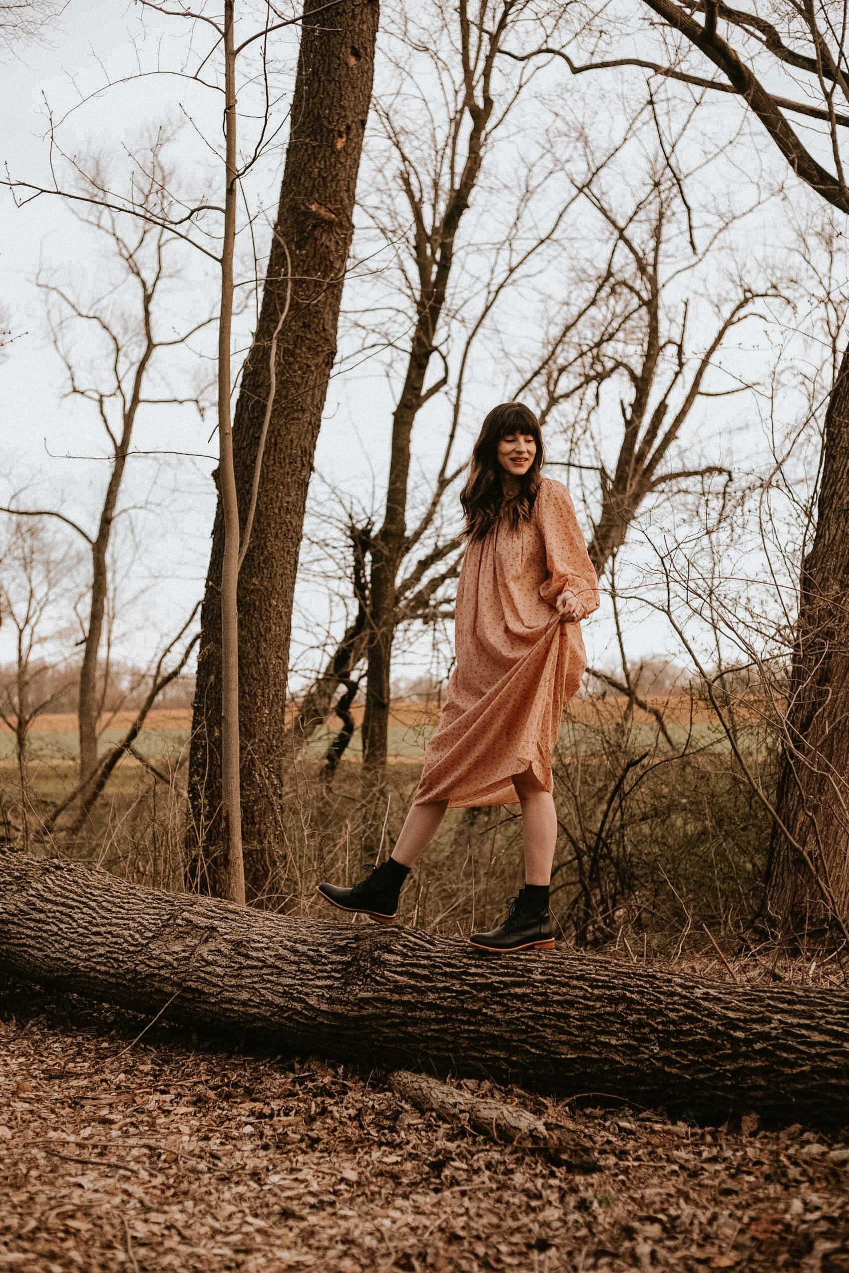 Doen Vintage Inspired Nightgown on a Fashion Blogger in the woods with Nisolo Boots
